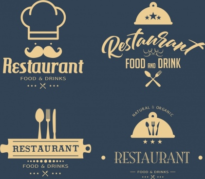 restaurant logotypes classical flat design utensils texs decor