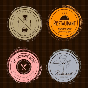 restaurant logotypes retro flat circle isolation