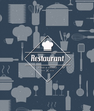restaurant menu background flat design kitchenware objects icons