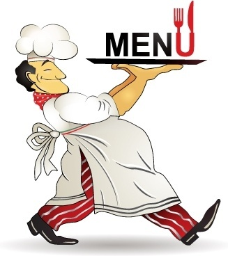 This is a clipart image of a chef who is holding onto a tray, and is about to go serve customers while holding onto the menu!