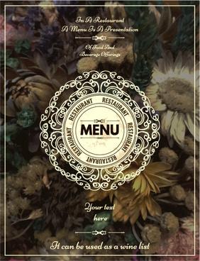 restaurant menu cover blurs flower vector
