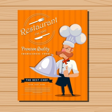 restaurant menu cover cook icon classical design