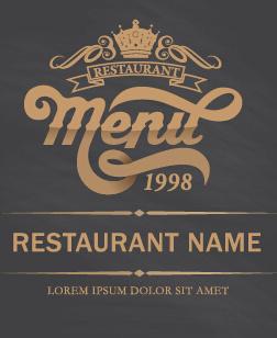 restaurant menu cover gray vector