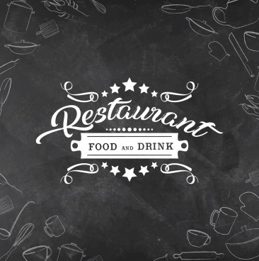 restaurant menu cover template black white retro decor