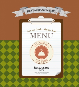 restaurant menu cover template grunge retro ribbon decor