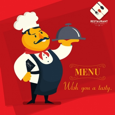 restaurant menu cover template male cook cartoon character