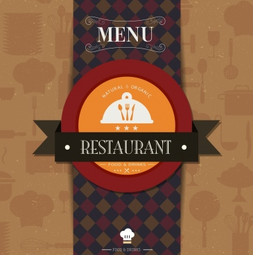 restaurant menu cover template ribbon circle checkered decor