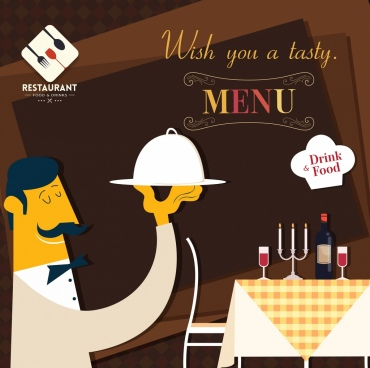 restaurant menu cover template waiter table icons decor