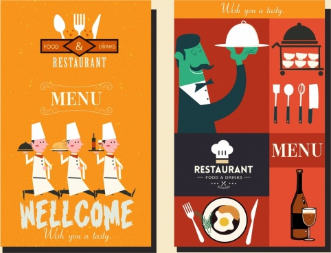 restaurant menu cover templates cartoon characters classical design