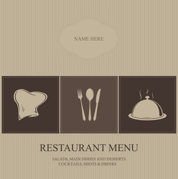 restaurant menu cover template dark elegance utensils sketch