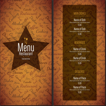 restaurant menu cover with list vector set