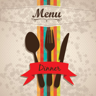 restaurant menu cover with tableware vector