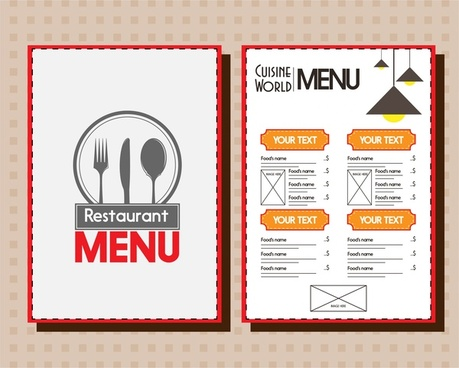 restaurant menu design emblem icons on white background
