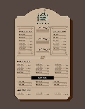 restaurant menu design retro style on dark background
