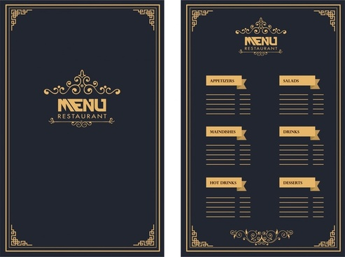 restaurant menu design royal style on dark background