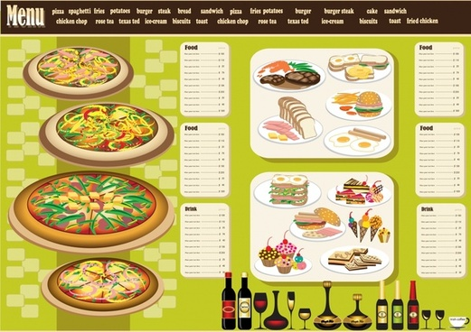 restaurant menu template colorful classic food beverages decor