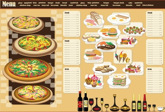 restaurant menu template fast food beverages decor
