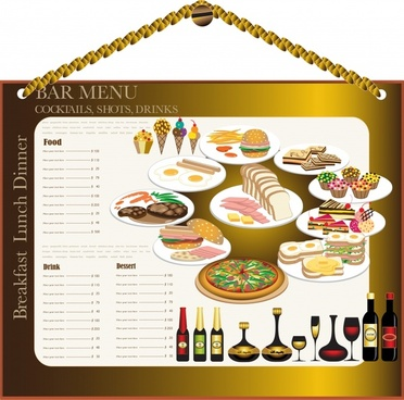 bar menu template hanging picture sketch food decor