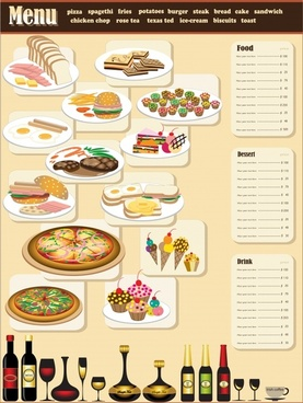 fast food menu template bright colorful decor