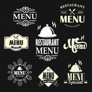 restaurant menu labels vintage vector