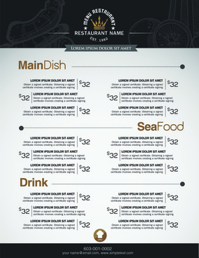 restaurant menu price list creative vector