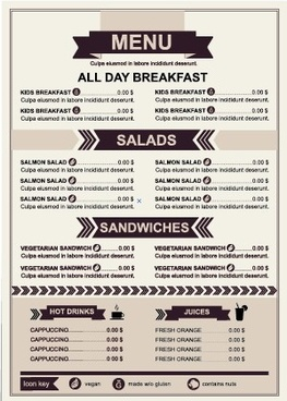 restaurant menu price list template vector