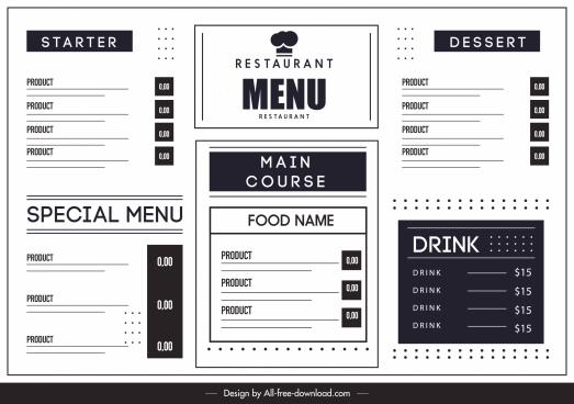 restaurant menu template black white flat simple design