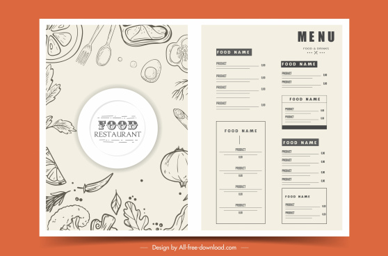 restaurant menu template black white handdrawn flat sketch