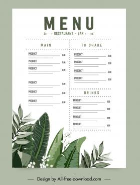 restaurant menu template bright elegant classical leaves decor