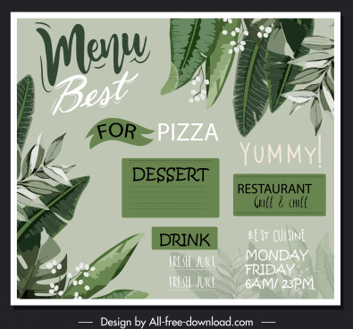 restaurant menu template classical handdrawn leaves decor