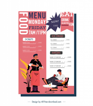 restaurant menu template colorful classic decor