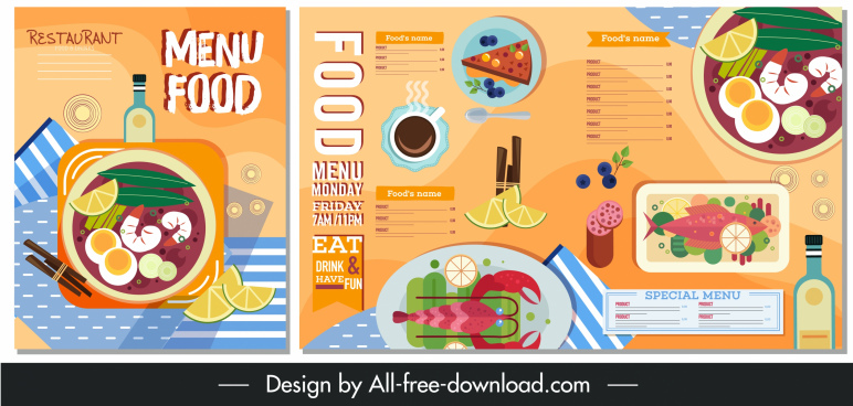 restaurant menu template colorful classical flat decor