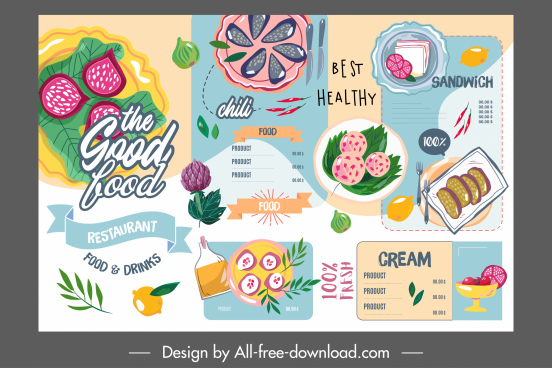 restaurant menu template colorful flat retro handdrawn sketch