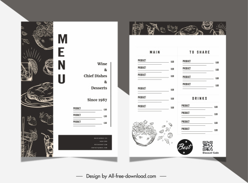 restaurant menu template contrast black white retro handdrawn