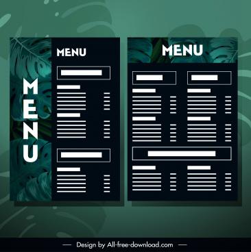 restaurant menu template dark green leaves decor