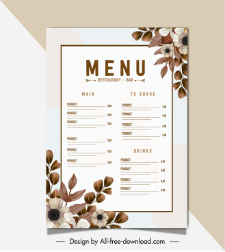 restaurant menu template elegant brown bright botanical decor