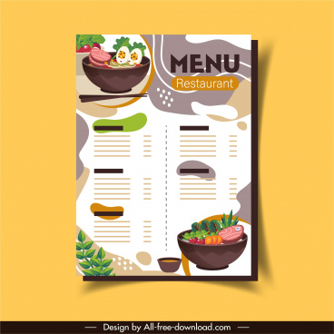 restaurant menu template elegant colorful classic food decor