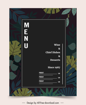 restaurant menu template elegant dark classic leaves decor