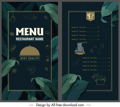 restaurant menu template elegant dark leaves decor