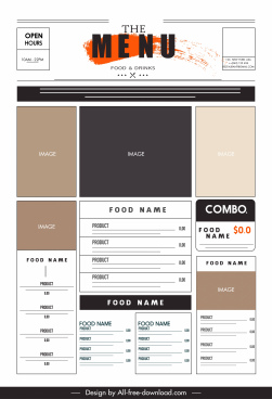 restaurant menu template elegant flat grunge geometric layout