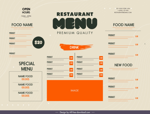 restaurant menu template elegant retro flat design