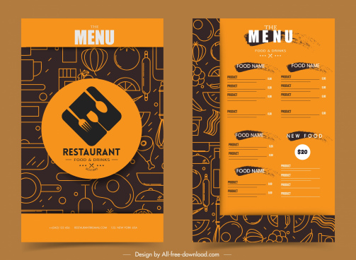 restaurant menu template flat abstract handdrawn classic design