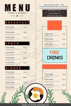restaurant menu template flat classical blurred decor