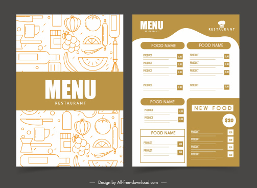 restaurant menu template flat classical handdrawn retro