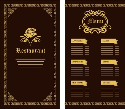 restaurant menu template flower classical design on dark