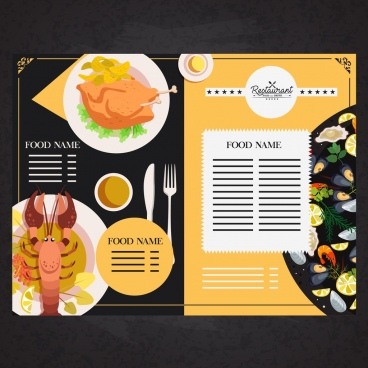 restaurant menu template food dishware icons decor