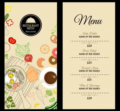 restaurant menu template food icons decoration classical design