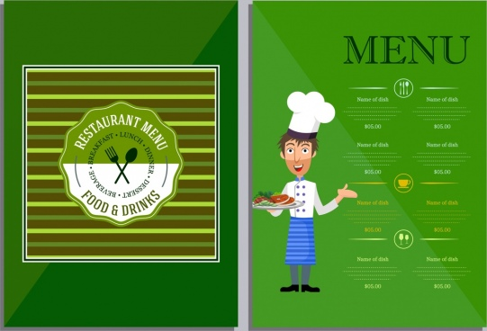 restaurant menu template green decor cook icon