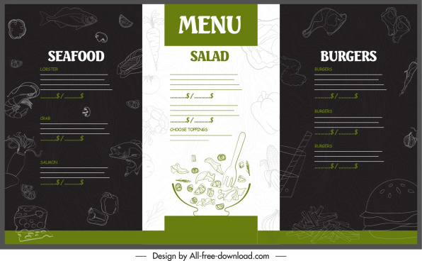 restaurant menu template handdrawn decor contrast design
