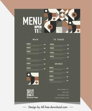 restaurant menu template illusion abstract decor plain classic
